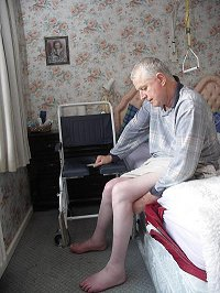 Disabled man at home