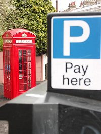 Phone box and parking charge machine