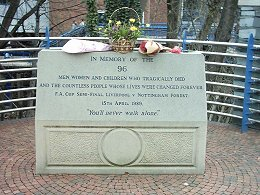 The Hillsborough Memorial outside the stadium