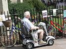 Disabled elderly in the road