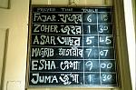prayer timetable board