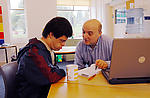 Man with learning disability with social worker