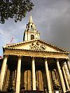 front of St Martins-in-the-fields church, Trafalgar Square, London