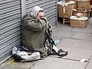 Homeless young man in the streets of Tower Hamlets, London