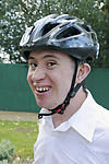 Man with Down's Syndrome wearing his cycle helmet