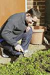 In the community: Man with Down's Syndrome tends to his garden