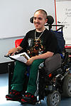 Teenager with physical disability at school