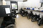 Wheelchairs sotred in special needs school