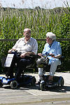Elderly couple in discussion