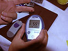 Diabetic checking sugar level