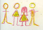 Child-like crayon sketch of stick-people