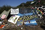 Discarded placards and banners from the Dale Farm protest