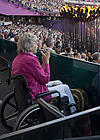 Disabled woman watching Paralympics 2012