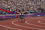 Competitor at Paralympics, London 2012, athletics stadium