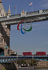 Paralympics 2012 logo hangs from Tower Bridge, London